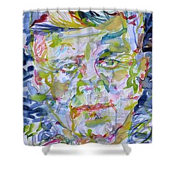 Shower Curtain featuring the painting John F. Kennedy - Watercolor Portrait.2 by Fabrizio Cassetta