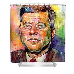 John F. Kennedy Watercolor Shower Curtain
