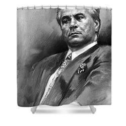 John Gotti Shower Curtain by Ylli Haruni