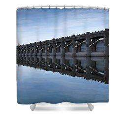 John Martin Dam And Reservoir Shower Curtain by Ernie Echols