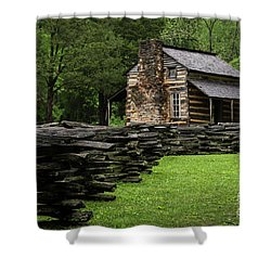 Shower Curtain featuring the photograph John Oliver Cabin by Andrea Silies
