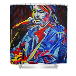 Shower Curtain featuring the painting John Prine #3 by Eric Dee