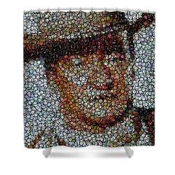 John Wayne Bottle Cap Mosaic Shower Curtain by Paul Van Scott