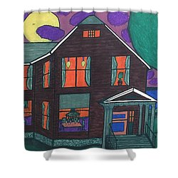 Shower Curtain featuring the painting John Wells Home. by Jonathon Hansen