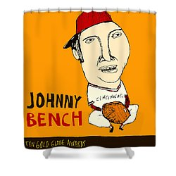 Johnny Bench Cincinnati Reds Shower Curtain by Jay Perkins