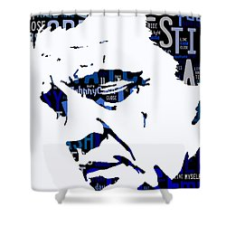 Johnny Cash I Walk The Line Shower Curtain by Marvin Blaine