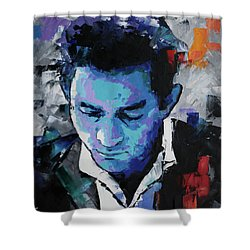 Johnny Cash Shower Curtain by Richard Day
