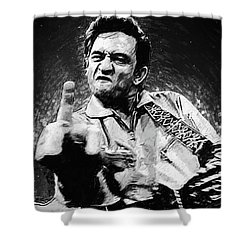 Johnny Cash Shower Curtain by Taylan Apukovska