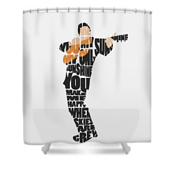 Shower Curtain featuring the painting Johnny Cash Typography Art by Inspirowl Design