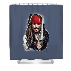 Johnny Depp As Jack Sparrow Shower Curtain by Melanie D