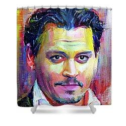 Johnny Depp Colors Portrait Shower Curtain