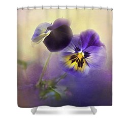 Shower Curtain featuring the photograph Johnny Jump Up by Theresa Tahara