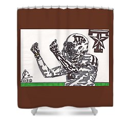 Johnny Manziel 10 Change The Play Shower Curtain by Jeremiah Colley