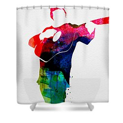 Johnny Watercolor Shower Curtain by Naxart Studio