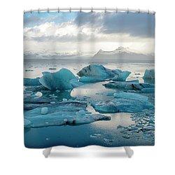 Shower Curtain featuring the photograph Jokulsarlon, The Glacier Lagoon, Iceland 6 by Dubi Roman