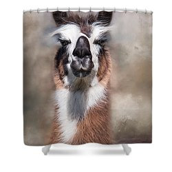 Shower Curtain featuring the photograph Jolly Llama by Robin-Lee Vieira