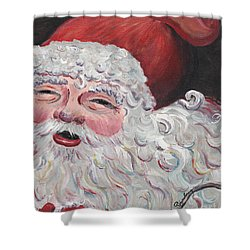 Jolly Santa Shower Curtain by Nadine Rippelmeyer