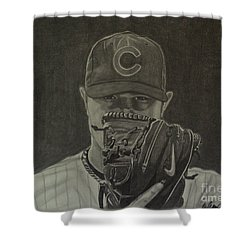 Shower Curtain featuring the drawing Jon Lester Portrait by Melissa Goodrich