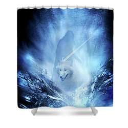 Jon Snow And Ghost - Game Of Thrones Shower Curtain by Lilia D