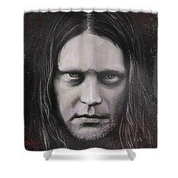 Shower Curtain featuring the drawing Jonas P Renkse Musician From Katatonia Band By Julia Art by Julia Art