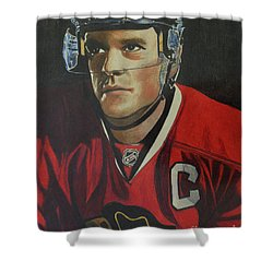 Shower Curtain featuring the drawing Jonathan Toews Portrait by Melissa Goodrich