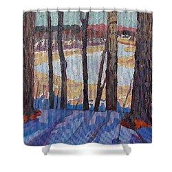 Jones Creek Morning Shower Curtain by Phil Chadwick