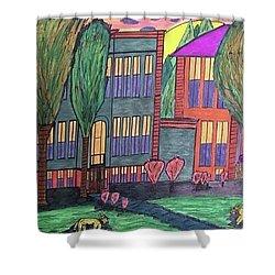 Shower Curtain featuring the drawing Jordan College West Drive Menominee by Jonathon Hansen