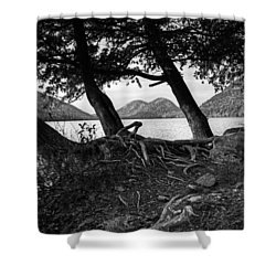 Jordan Pond - Acadia - Black And White Shower Curtain