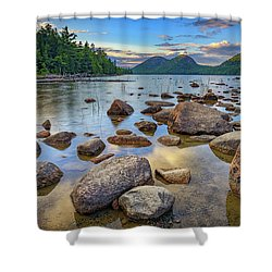 Jordan Pond And The Bubbles Shower Curtain by Rick Berk