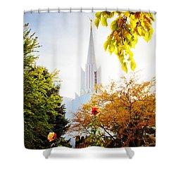Jordan River Temple Rose Shower Curtain by La Rae  Roberts