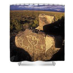 Jornada Mogollon Petroglyph Site Human Shower Curtain by Rich Reid