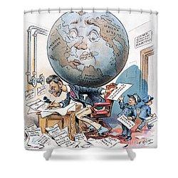 Joseph Pulitzer Cartoon Shower Curtain by Granger