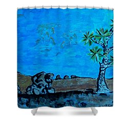 Shower Curtain featuring the painting Joshua Tree And Personality Of Rocks by Carolina Liechtenstein