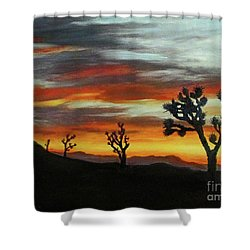 Joshua Trees At Sunset Shower Curtain