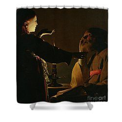 Jospeh And The Angel Shower Curtain by Georges de la Tour