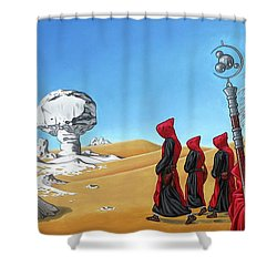 Shower Curtain featuring the painting Journey To The White Desert by Paxton Mobley