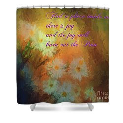 Shower Curtain featuring the mixed media Joy by Jim  Hatch