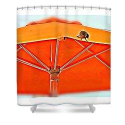 Shower Curtain featuring the digital art Joy On An Umbrella by Mindy Newman