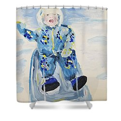 Shower Curtain featuring the painting Joy Ride by Maria Langgle