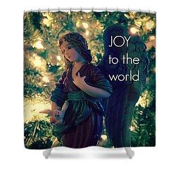 Joy To The World Christmas Angel Shower Curtain
