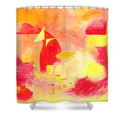 Shower Curtain featuring the painting Joyful Abstract by Andrew Gillette