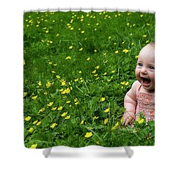 Joyful Baby In Flowers Shower Curtain
