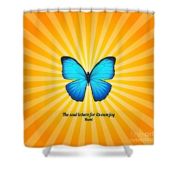 Joyful Butterfly With Quote By Rumi Shower Curtain