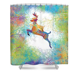 Shower Curtain featuring the digital art Joyful Leaps by Trilby Cole