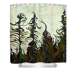 Joyful Pines, Whispering Lines Shower Curtain