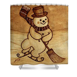 Shower Curtain featuring the painting Joyful Snowman  Coffee Paintings by Georgeta  Blanaru