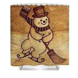 Joyful Snowman  Coffee Paintings Shower Curtain