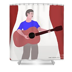 Joyful Young Musician Shower Curtain by Fred Jinkins