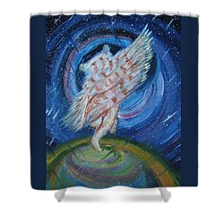 Shower Curtain featuring the painting Joyfully My Father Comes To See Me by Dawn Senior-Trask