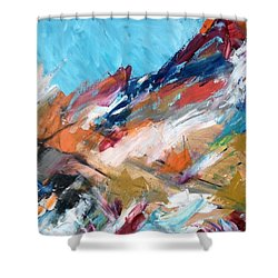 Judean Hill Abstract Shower Curtain by Esther Newman-Cohen